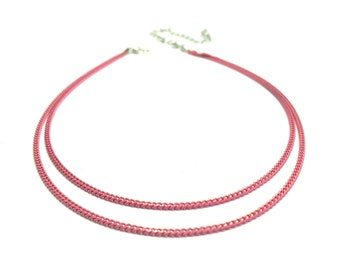 PINK CHAMPAGNE: pink double chain choker