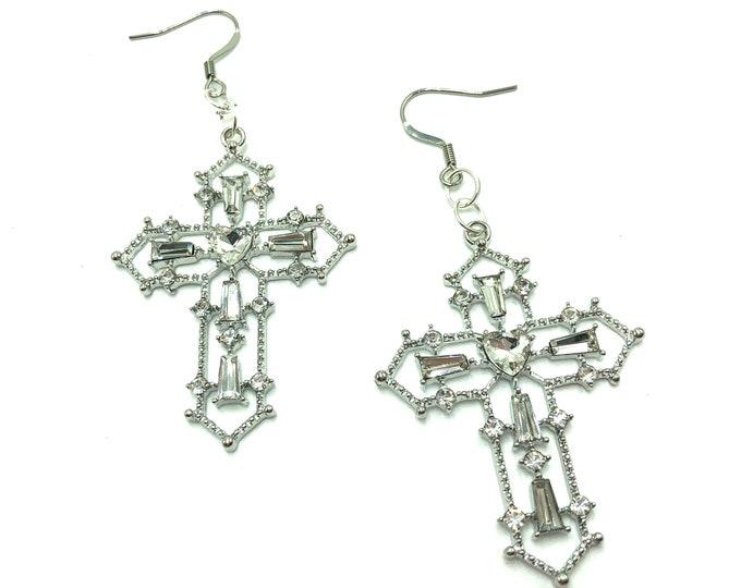 RENAISSANCE: intricate silver cross drop earrings