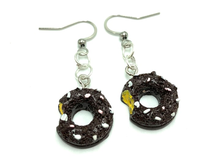 COCO: chocolate donut resin earrings