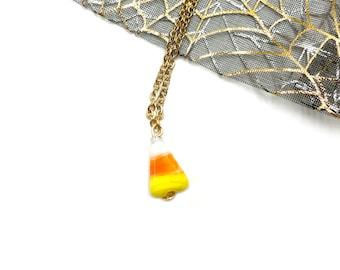 CANDY CORN: delicate ceramic candy corn necklace