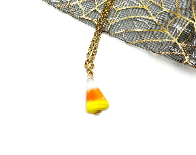 CANDY CORN: delicate ceramic candy corn necklace