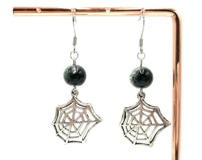WEB: dangly spiderweb earrings