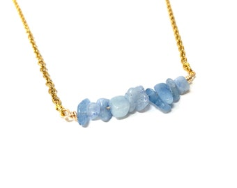 CINDY: aquamarine gold crystal chip necklace