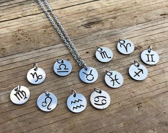 ZODIAC: minimalist silver zodiac sign necklaces