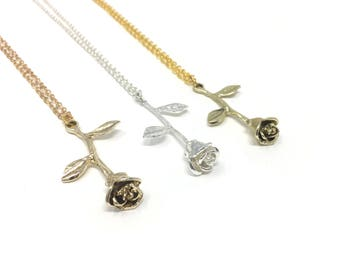 3D ROSE: delicate 14 inch necklace in multiple colors