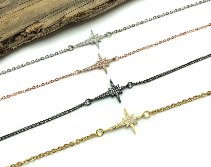 KAELIN: starburst necklace in silver, rose gold, gunmetal, or gold