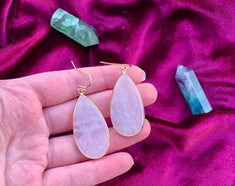 CARA: rose quartz teardrop earrings