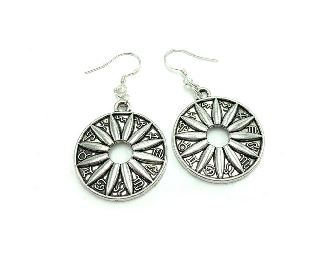 ZODIAC: astrology flower earrings