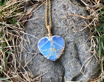 OPALITE: wire wrapped opalite heart