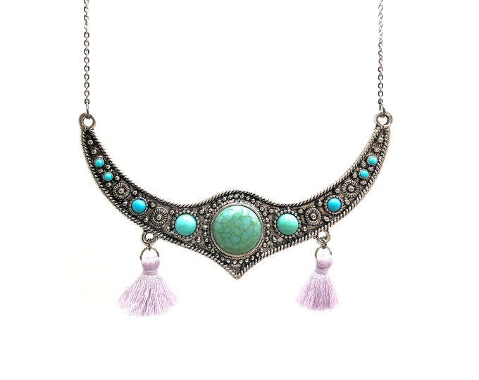 TURQUOISE TASSEL: faux stone large statement necklace