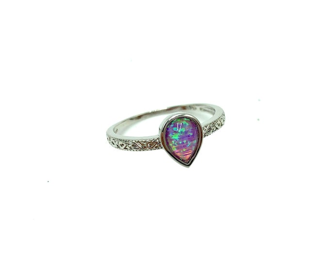 LANA: 925 silver plated purple faux opal ring