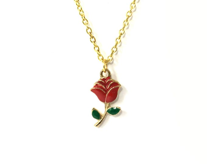 THORNS: gold red rose chain choker