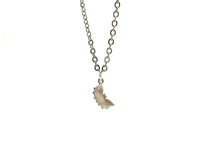TINY BAT: delicate stainless steel bat necklace