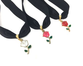 ENCHANTED ROSE: rose choker available in multiple colors