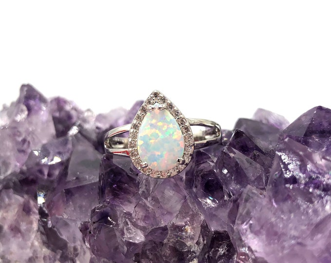 MIA: 925 silver plated pear cut simulated opal ring