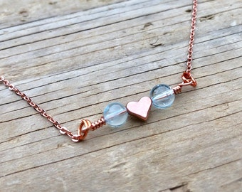 BLUE TOPAZ: rose gold genuine stone necklace