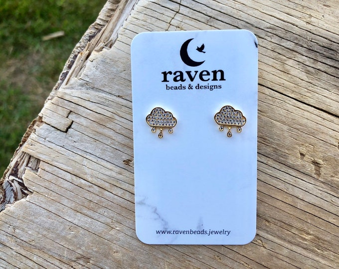 OVERCAST: gold plated pave cloud stud earrings