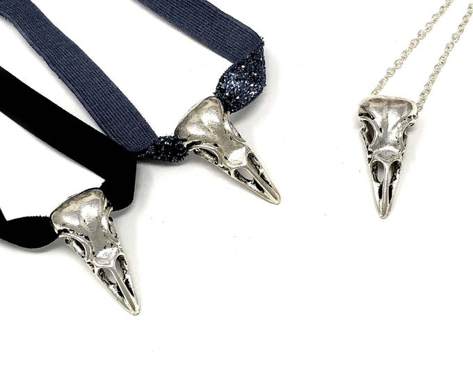 EDGAR: raven skull choker available in multiple styles