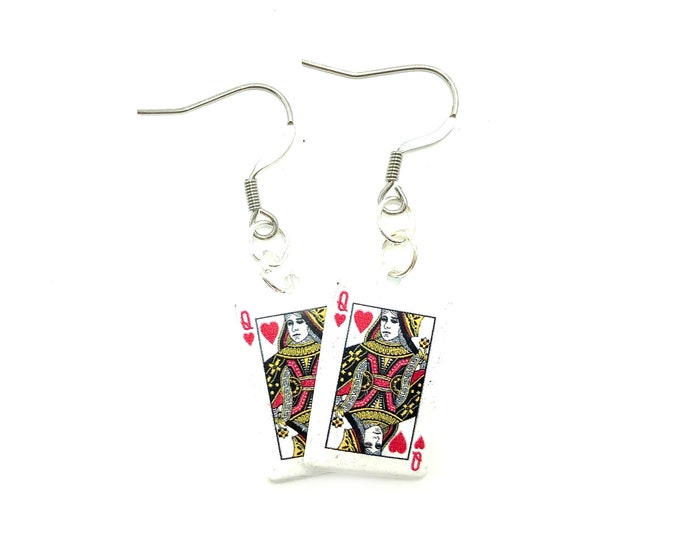 QUEEN OF HEARTS: card drop earrings