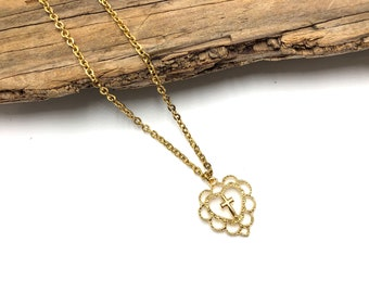 MADONNA: dainty heart and cross necklace