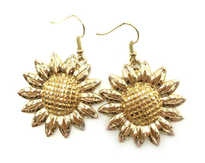 SUNFLOWER: large gold sunflower earrings