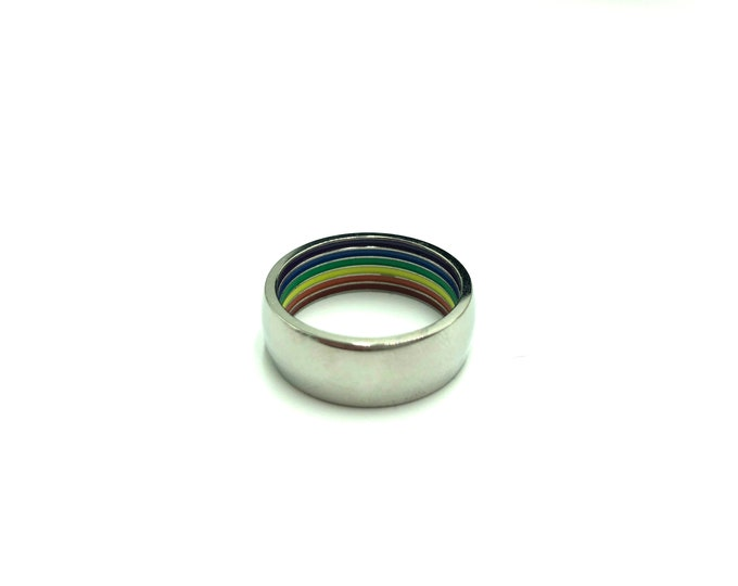 RAINBOW: stainless steel unisex hidden rainbow ring