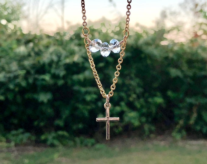 MARY: delicate cross necklace with bead accent