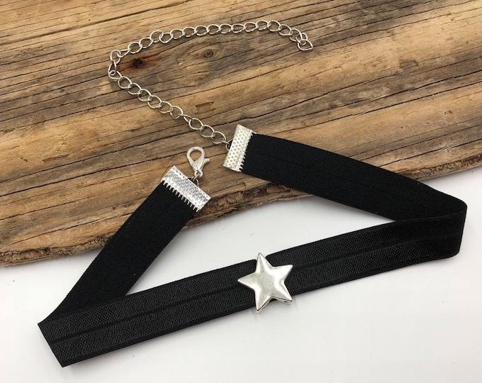 STARPOWER: silver star black elastic choker