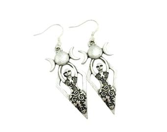 GODDESS: antique silver triple moon earrings