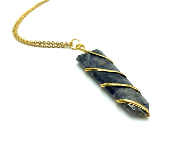 SODALITE: flat wire wrapped crystal points