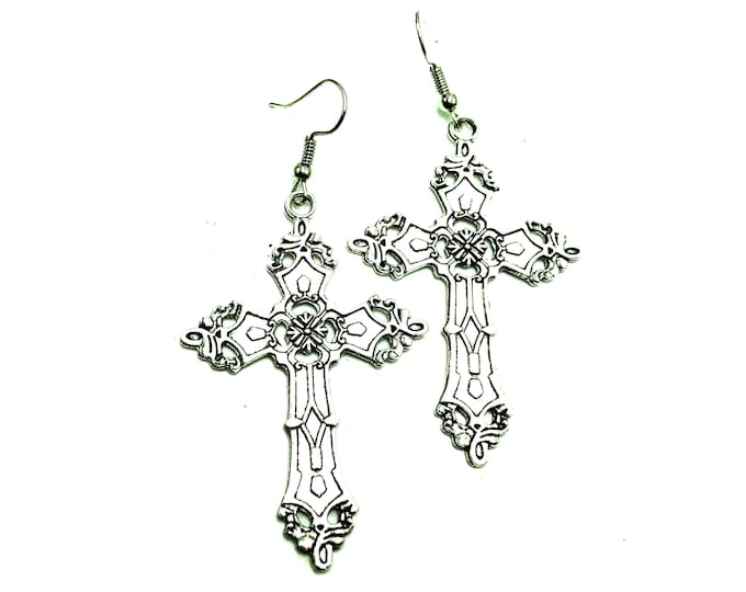GOTHIC: large detailed gothic cross earrings