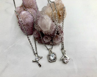 GLITZY: glamorous cubic zirconia stainless steel necklaces