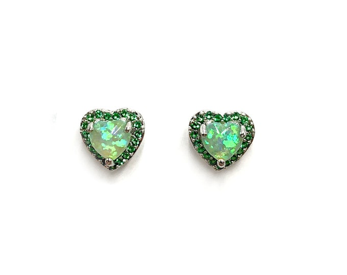 HALO: simulated fire opal heart stud earrings