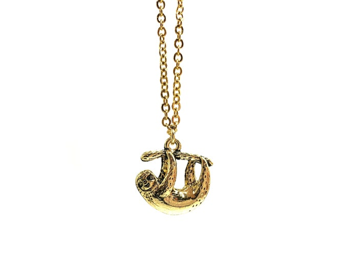 SLOTH: antique gold sloth necklace