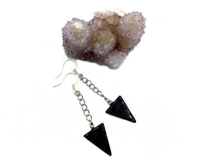 BLAIR: blue goldstone drop earrings