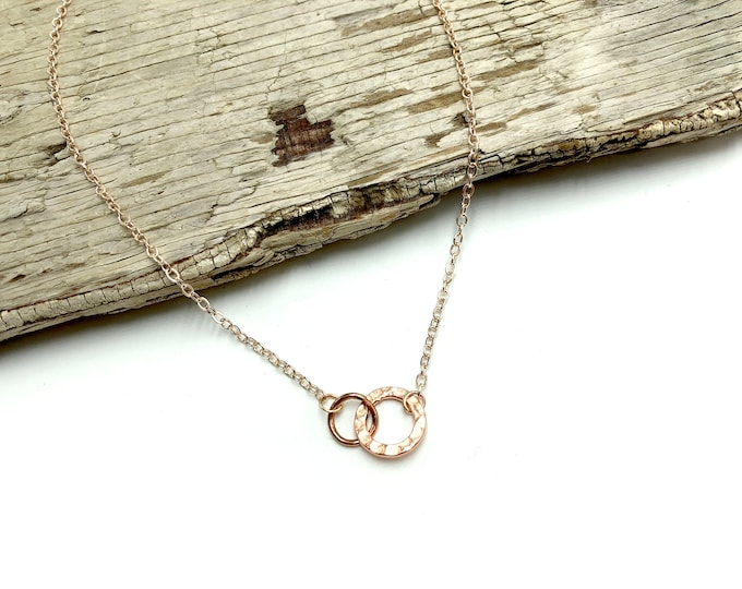 VERITY: rose gold textured double circle dainty necklace