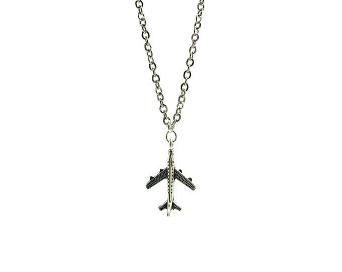 AIRPLANE: stainless steel plane necklace