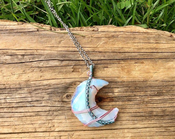 OPALITE: cotton candy weave wrapped opalite moon necklace