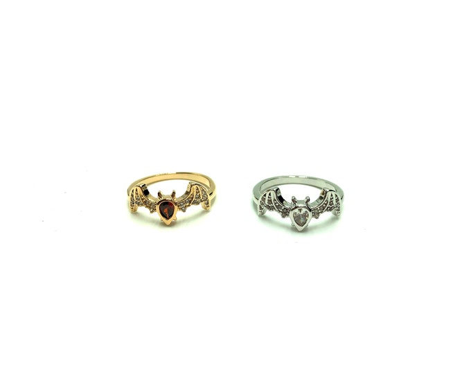 AMARA: dainty bat ring in gold and silver