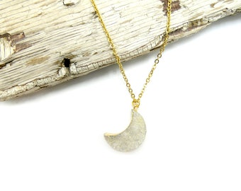 DRUZY MOON: electroplated gold druzy moon necklace