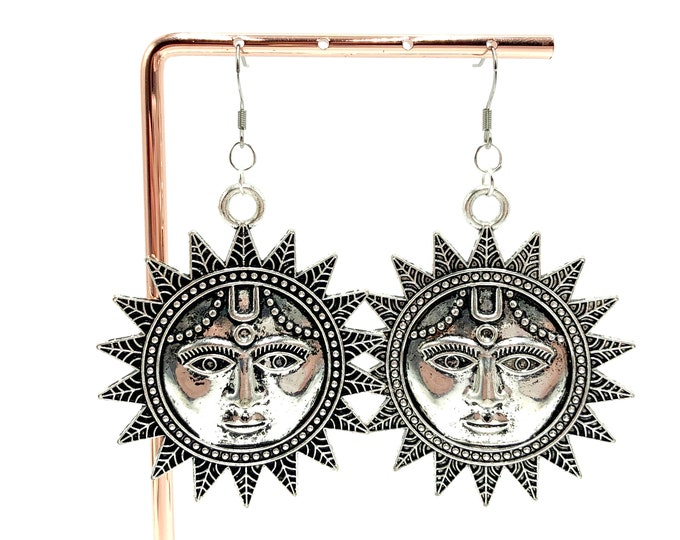 SUNNY DISPOSITION: large statement sun earrings