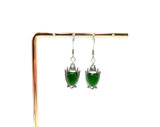 BEETLE: green drop earrings