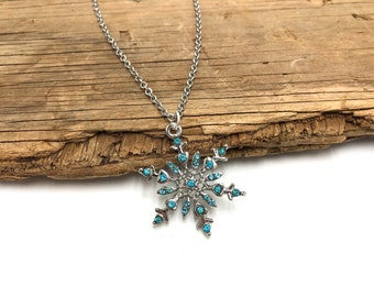 SNOWFLAKE: blue gem snowflake necklace