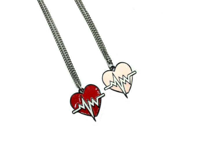 HEARTBEAT: red or gold enamel necklace on gunmetal chain
