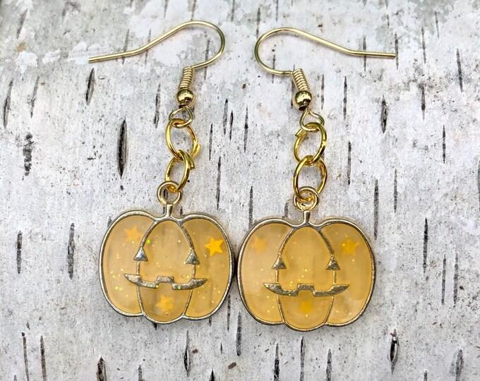 JACK: glittery orange and gold pumpkin earrings