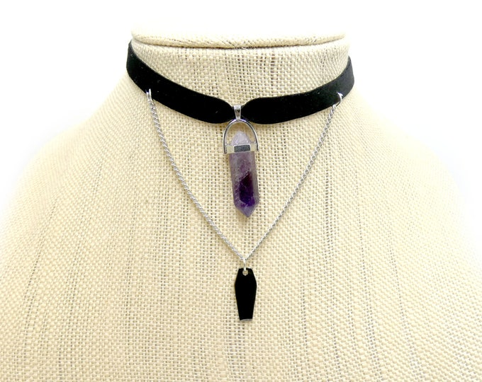COFFIN: amethyst and coffin draped velvet choker