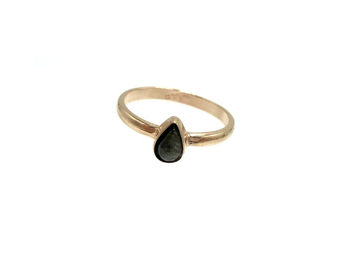 OBSIDIAN: 925 plated rose gold stone ring