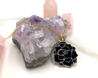 DARK ROSE: black rose enamel necklace