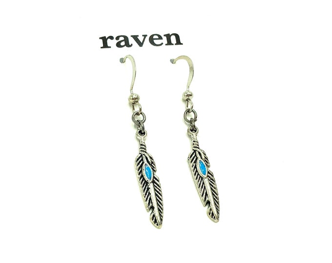 ILEANA: stainless steel feather drop earrings