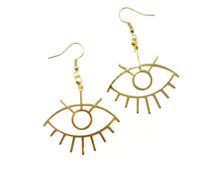 MODERN: gold eye earrings